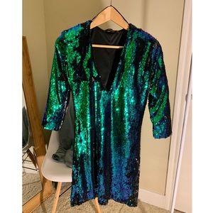 Zara sequin dress with quarter sleeves